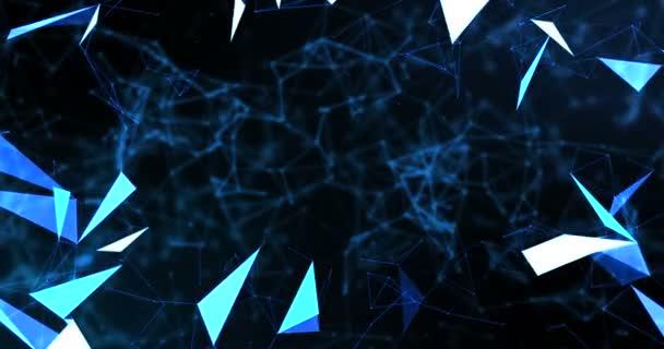 modrá, abstraktní 3d vykreslování technologie plexus dynamické digitální povrch na černém pozadí, geometrické obrazce s modrými čarami částic pozadí futuristické hnutí, připravené pro filmové tituly a