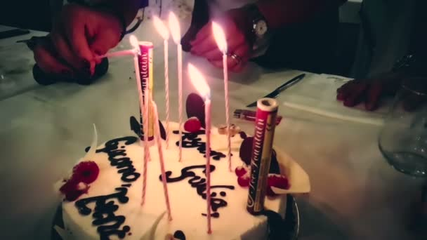 Burning Sparkler Birthday Cake Happy Written Stock Video