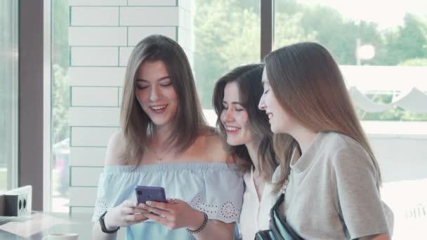 Glückliche Freundinnen machen Selfies beim Brunch im Café
