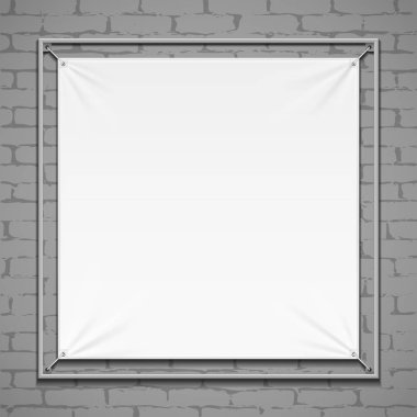 Wall Streamer Vinyl Flex White Banner, Fabric, Nylon With Folds. Corners Ropes. Shield. Mock Up, Template. Illustration Isolated On Gray Brick Background Background. Ready For Your Design.