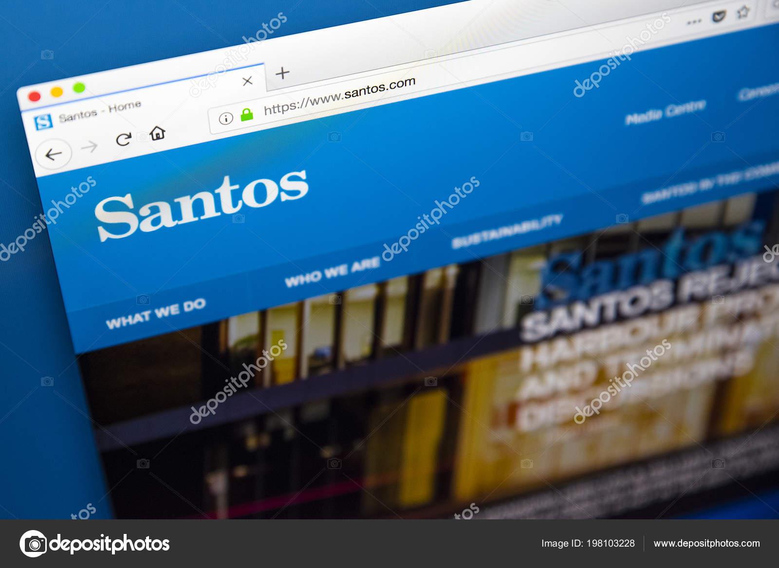 Londres Reino Unido Maio 2018 Homepage Site Oficial Santos Ltd — Fotografia  de Stock 4e7a8eb9f0176