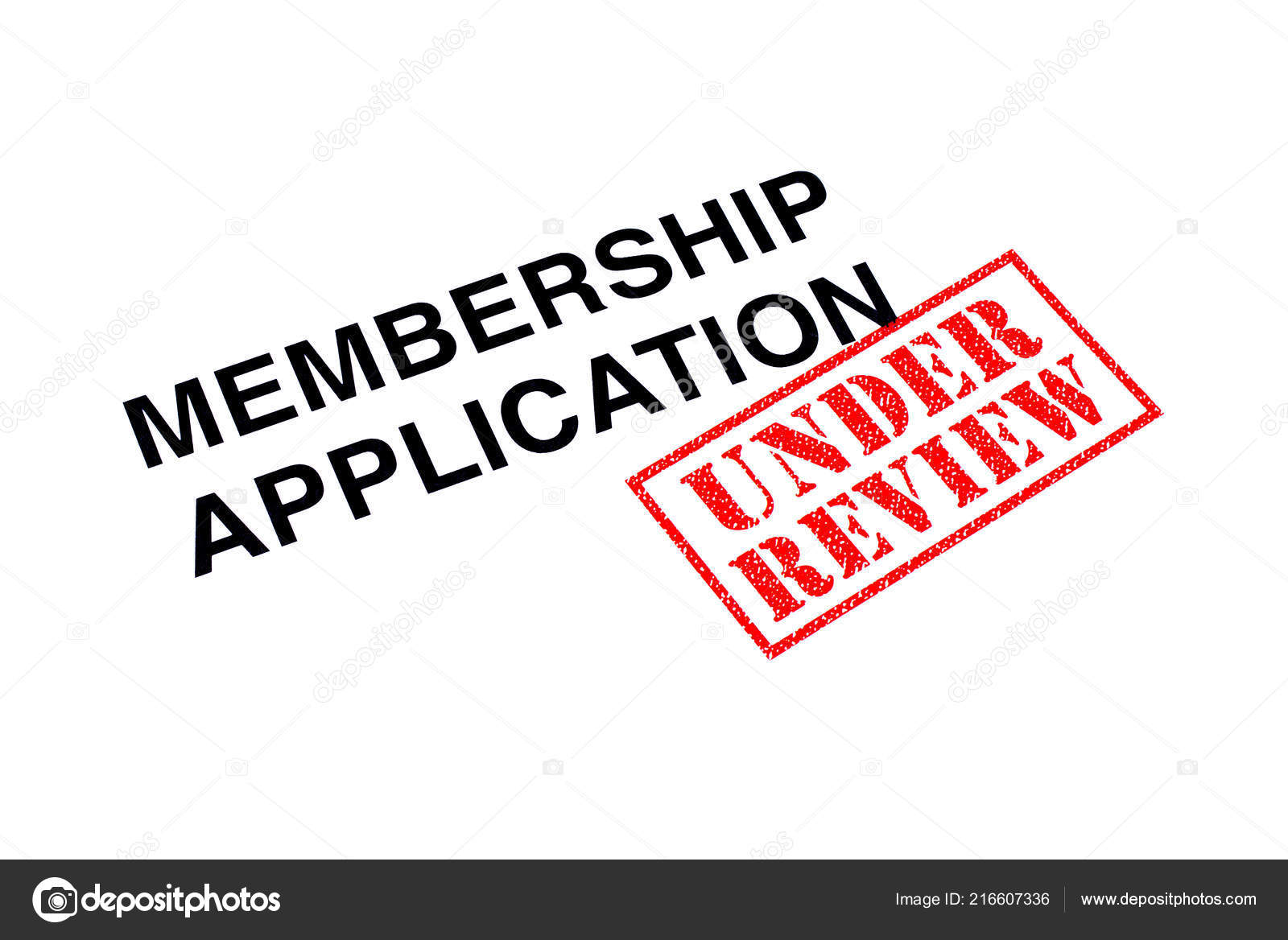 Membership Application Heading Stamped Red Review Rubber