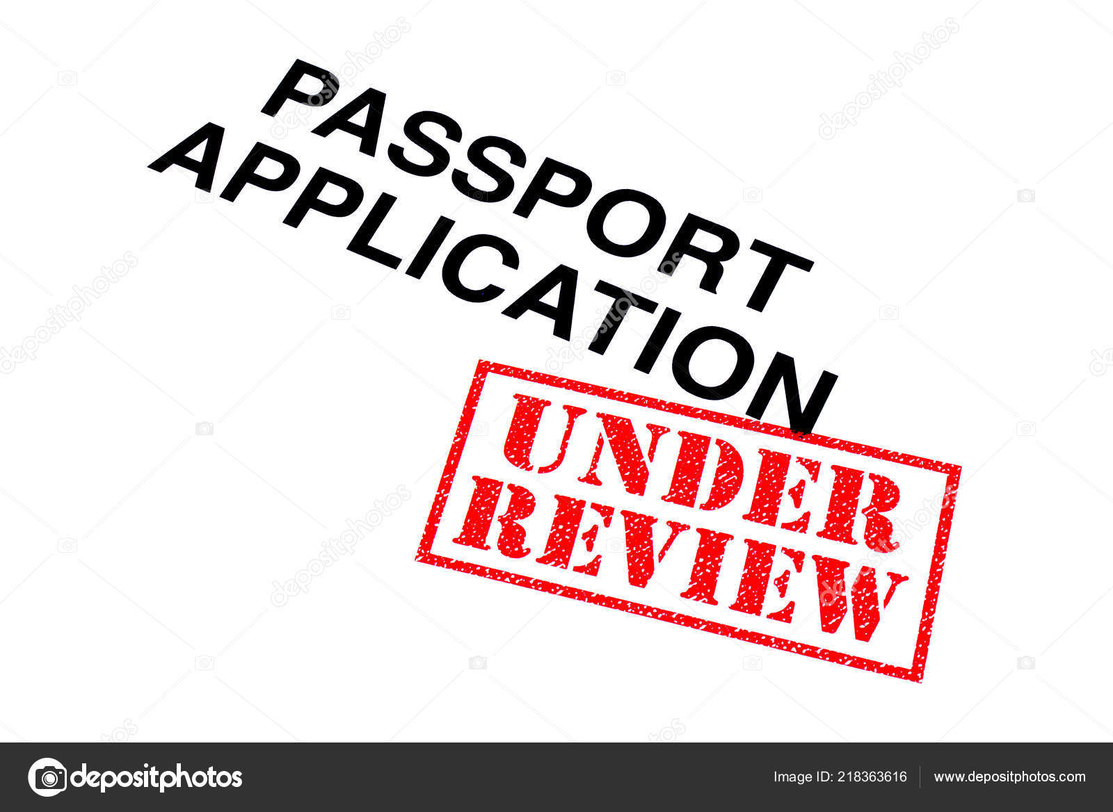 Passport Application Heading Stamped Red Review Rubber Stamp