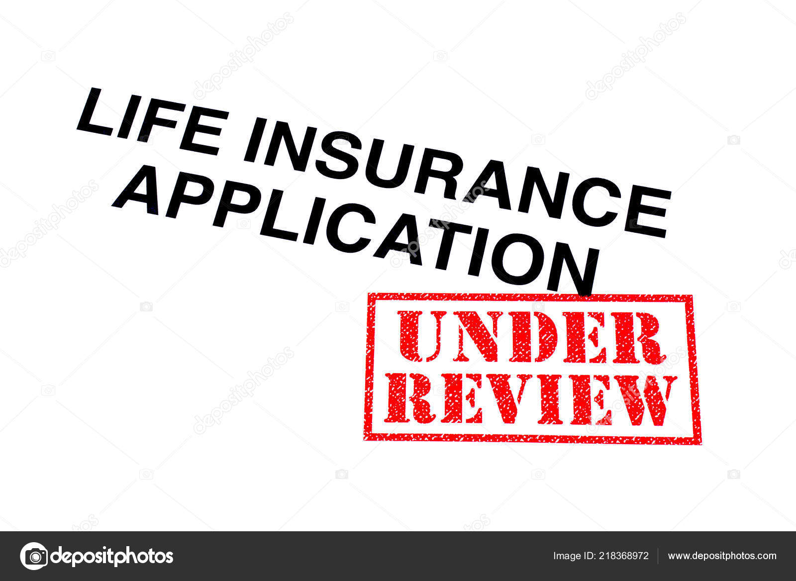 Life Insurance Application Heading Stamped Red Review Rubber