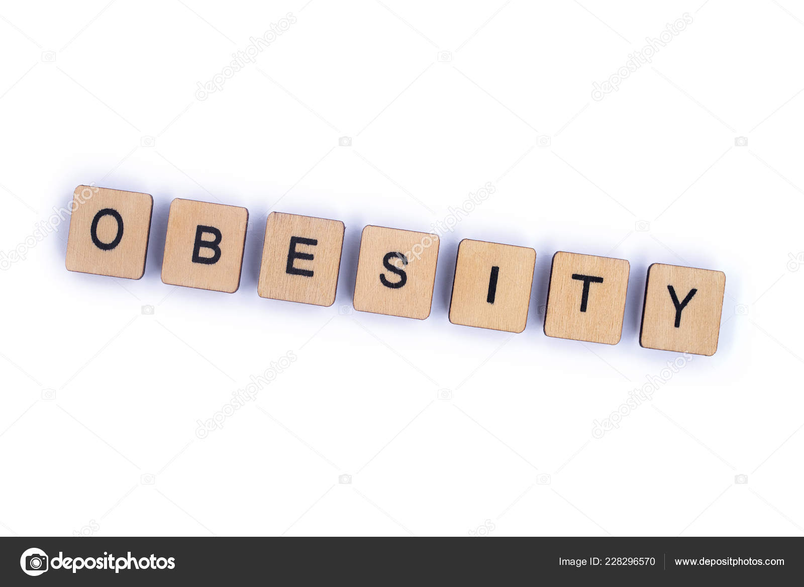 Palabra Obesidad Escribe Con Letra Madera Azulejos Foto De