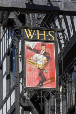 Chester, UK - July 31st 2018: A vintage sign for a WH Smiths shop on Foregate Street in the historic city of Chester, UK.