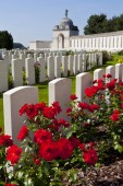 Zonnebeke, Belgium - August 10th 2012: A view of Tyne Cot Cemetery in Belgium - the burial ground of Commonwealth soldiers who lost their lives in the Ypres Salient during the First World War.
