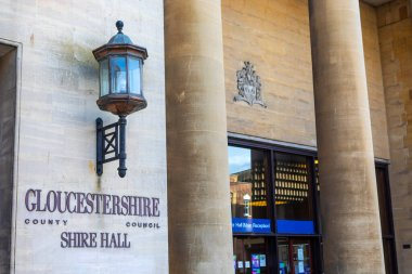 Gloucester, UK - October 1st 2020: An exterior view of Shire Hall in the city of Gloucester, UK.  The building is the meeting place of Gloucestershire County Council.