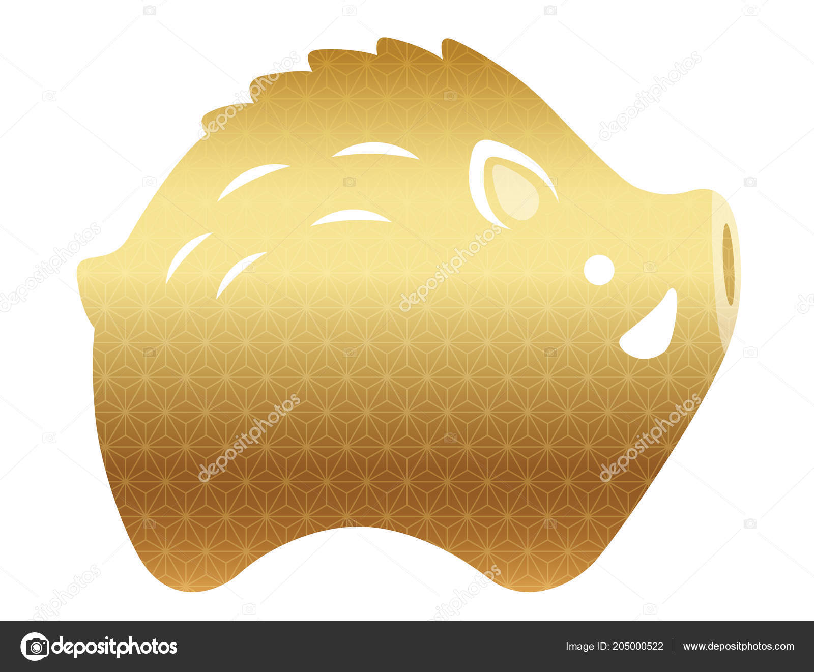 Year Wild Boar Family Icon New Years Greeting Cards Vector Stock