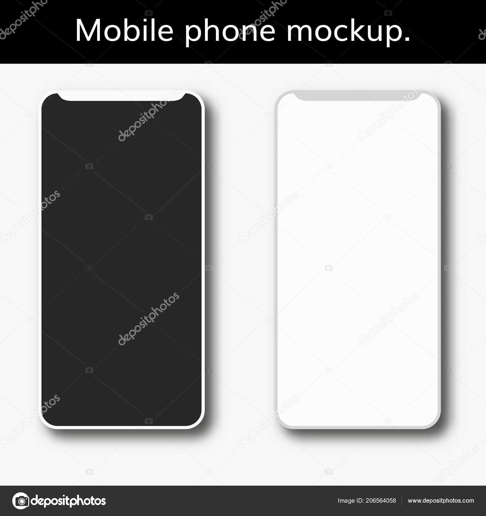 0041fb8ec1a34e Realistic smartphone with blank screen. Isolated cell phone mockup. white  and black new modern telephone — Vector by DeziDezi