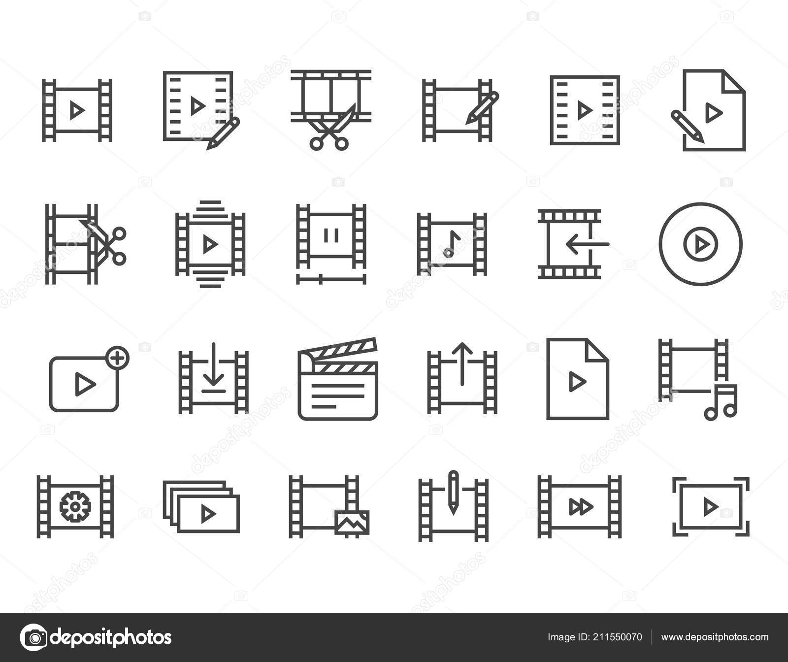Simple Set Video Editing Related Vector Line Icons Contains