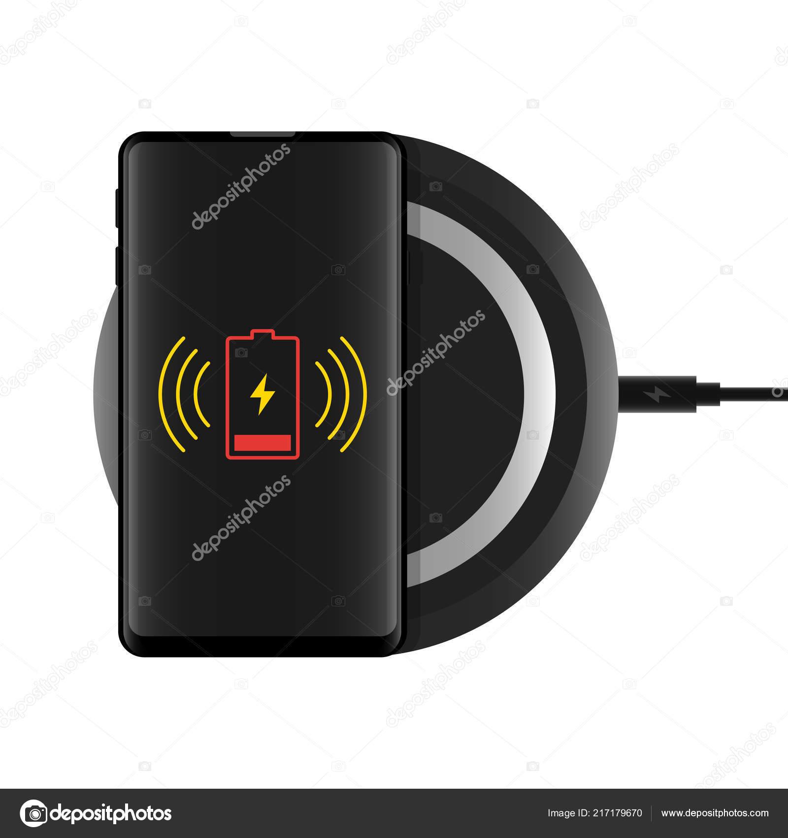 мобильный телефон беспроводной зарядки векторный Icon векторное