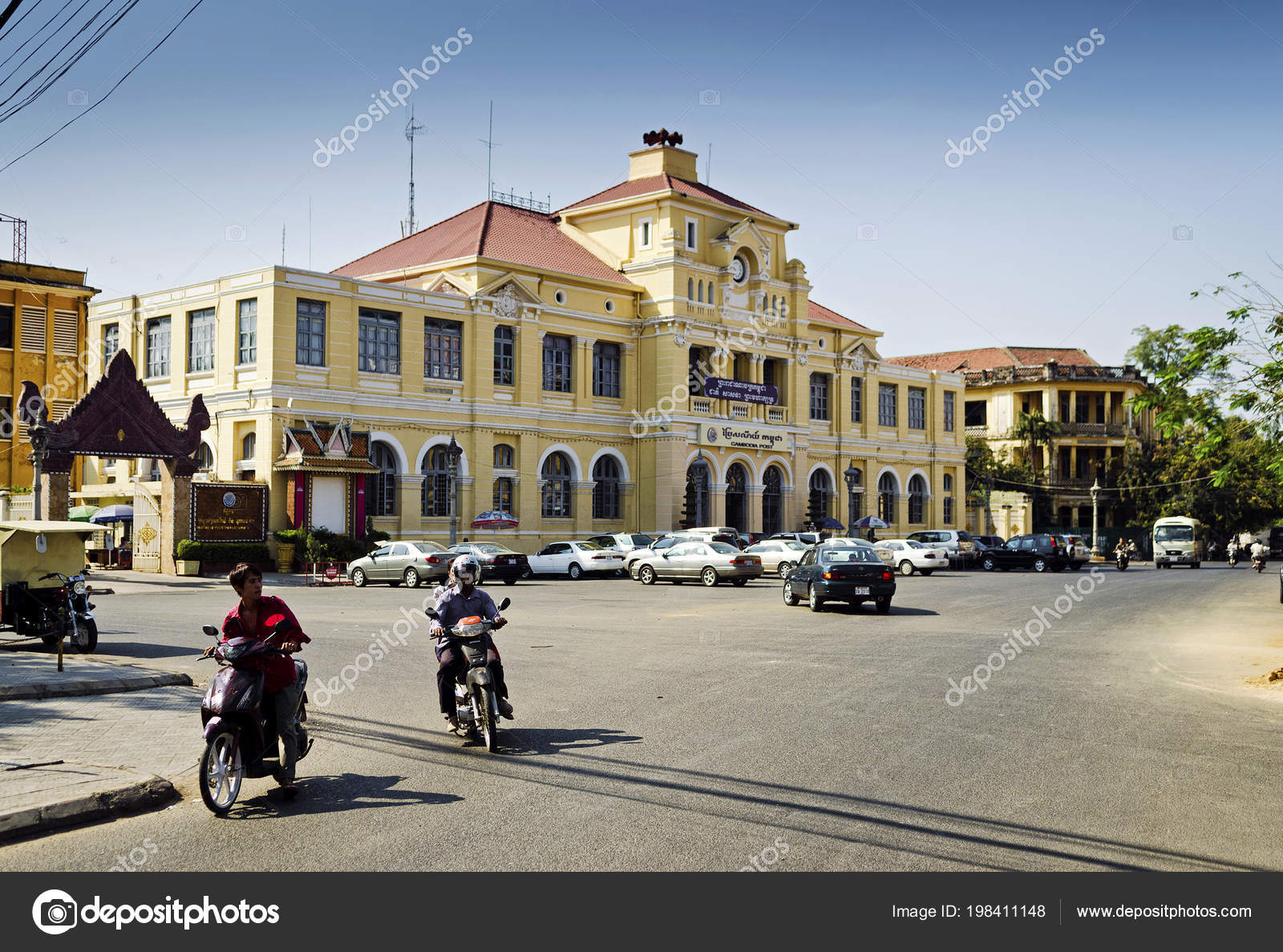 Old colonial french architecture post office central phnom penh city