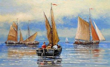 """Картина, постер, плакат, фотообои """"парусник в море. морской пейзаж. изобразительное искусство . картина цветы все"""", артикул 242791460"""
