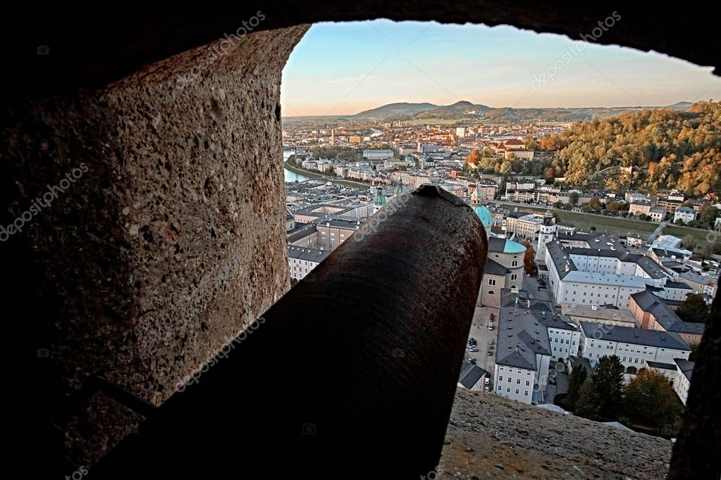 Awesome sunset view on Salzburg, Austria, Europe. City in Alps of Mozart birth. View of Salzburg skyline from Festung