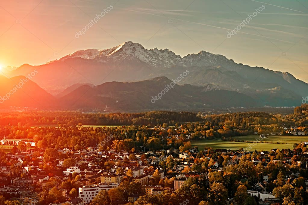 Beautiful sunset forest mountain view from Festung Hohensalzburg castle fortress in Salzburg, Austria, Europe