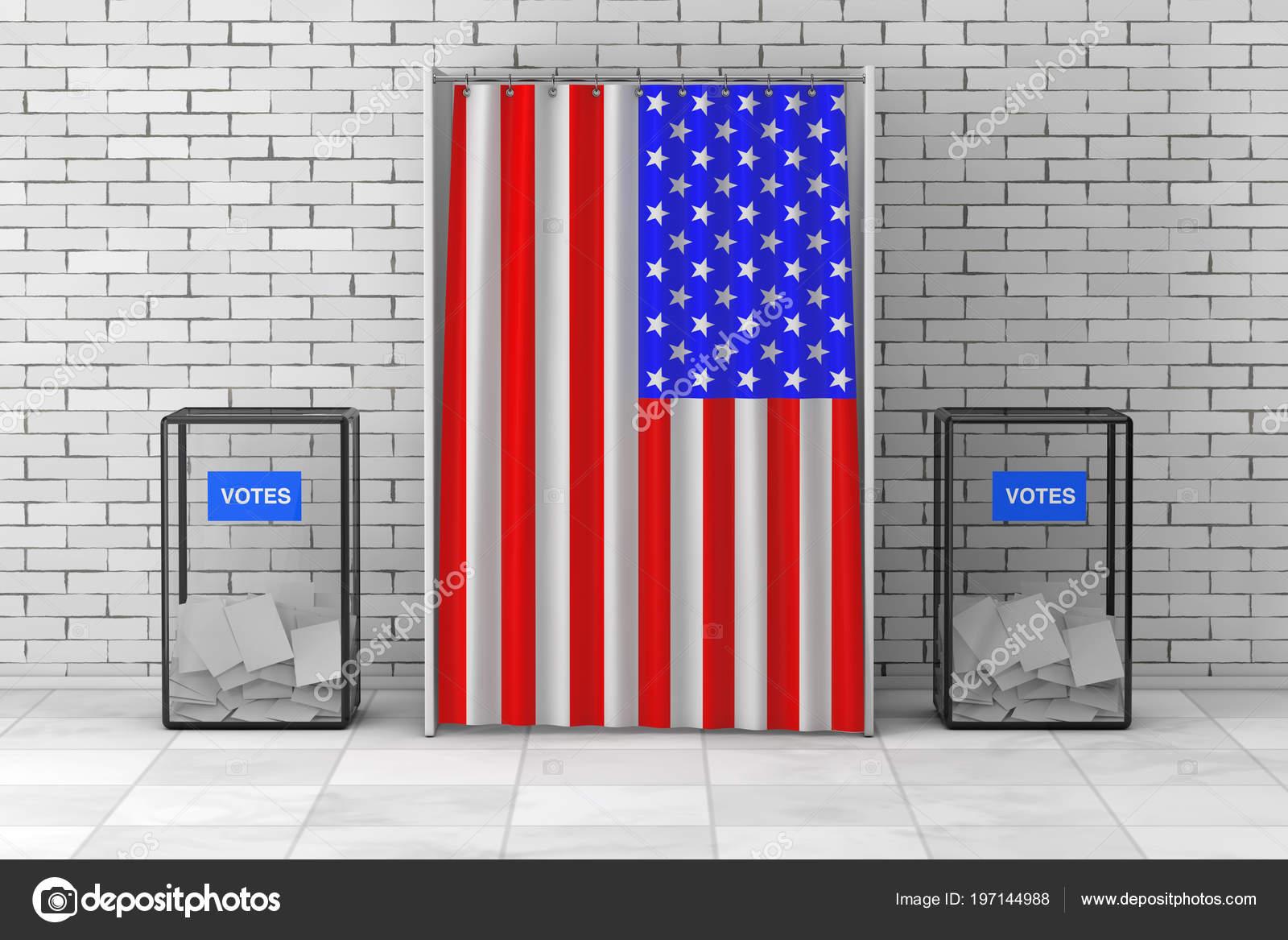 Boîtes Scrutin Près Stand Vote Blanc Avec Rideau Drapeau Usa ...
