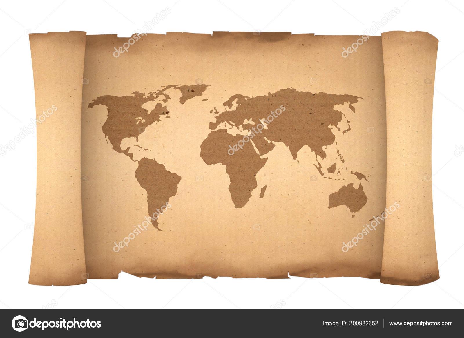 Carte Du Monde Parchemin vieux papier rouleau parchemin avec carte monde sur fond blanc
