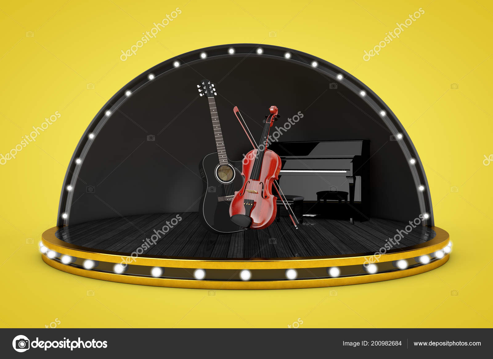 Stage Scene Lights Piano Black Wooden Acoustic Guitar