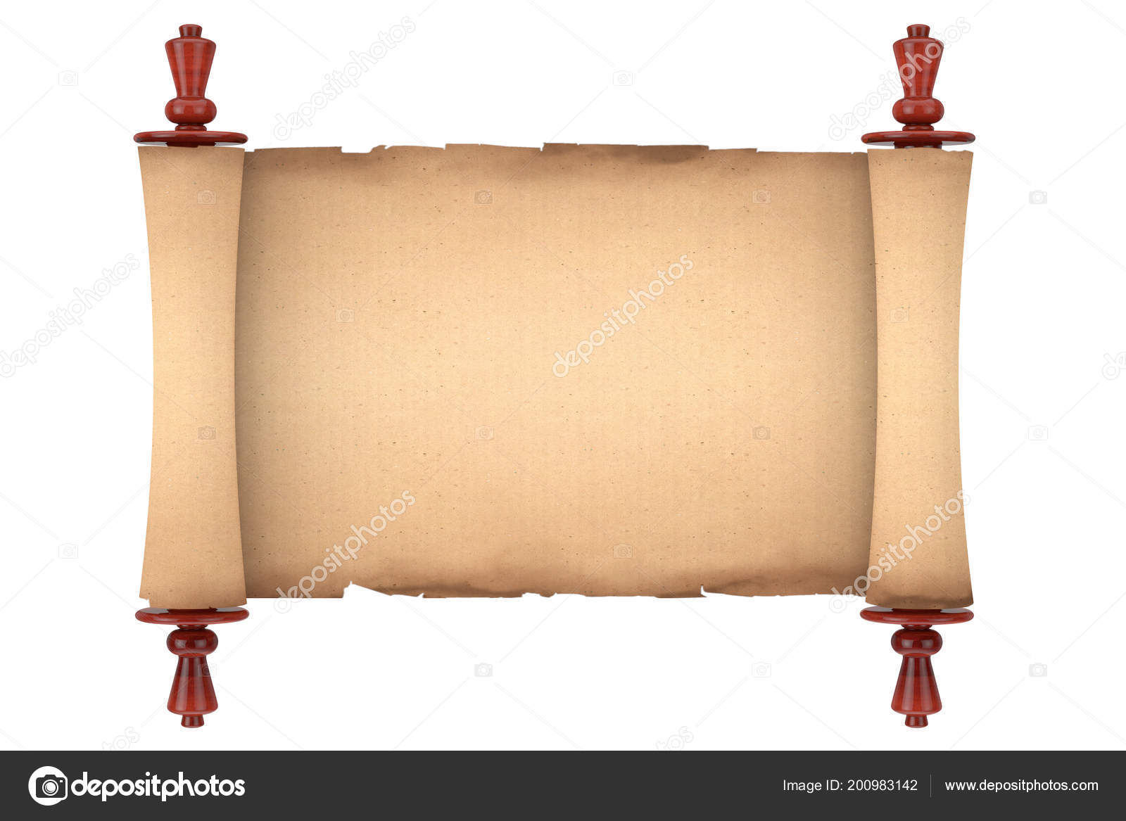 Blank Old Paper Scroll Parchment Mockup White Background