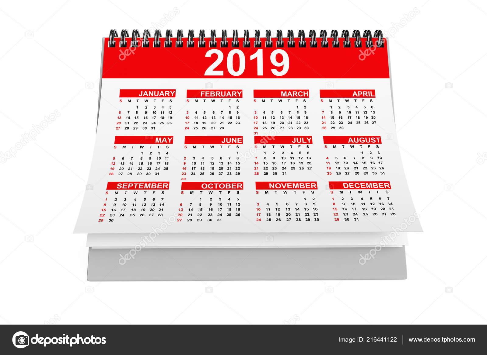 2019 Anno Desktop Calendar Sfondo Bianco Rendering Foto Stock