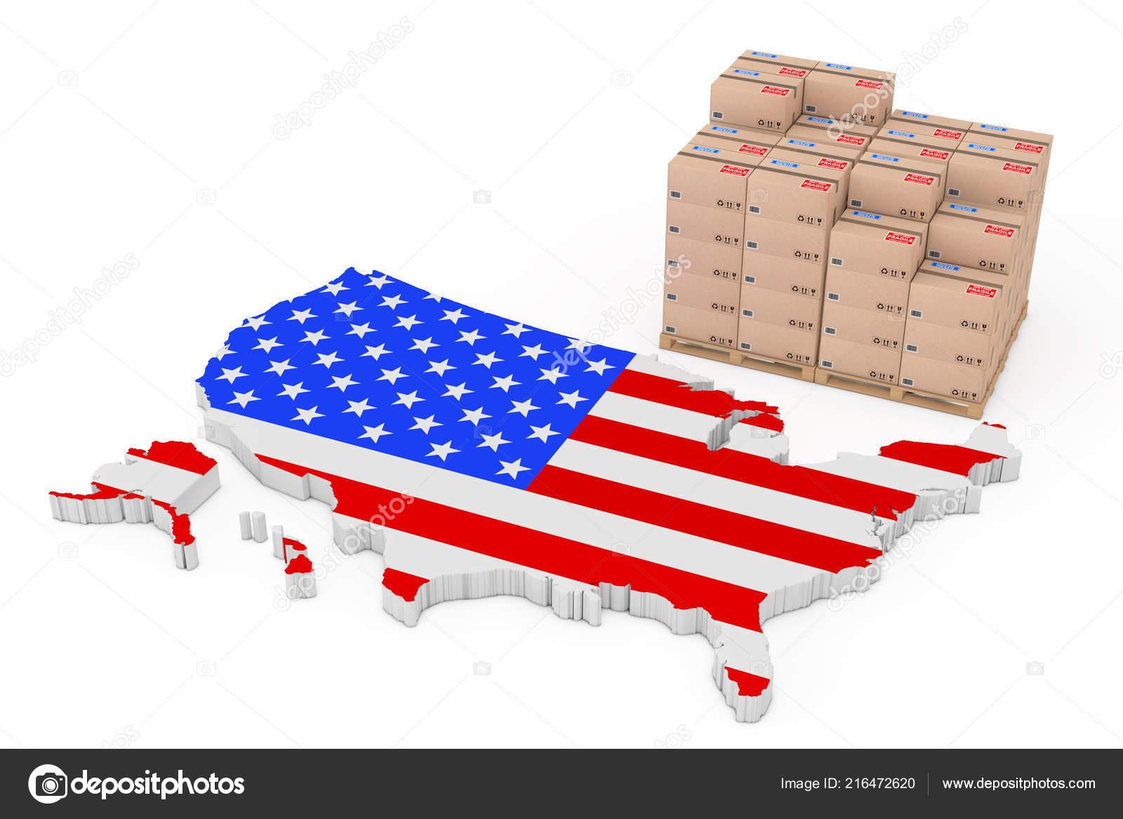 Usa Logistics Concept Cardboard Boxes Wooden Palette Usa Map Flag
