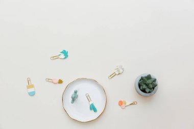Flat lay summer composition. Creative concept succulent and pins. Top view, copy space
