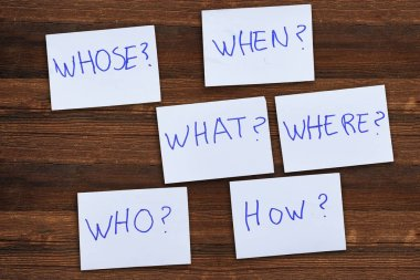 Questions - Why? What? Where? When? Why? How? on blue stickers on wooden background. Business, text, communication, information, message, note, paper, word