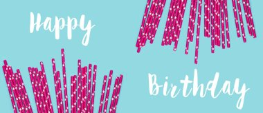 pink Paper Drinking Straws with  Stars Pattern Scattered as Border Frame on blue Background. Birthday Party concept