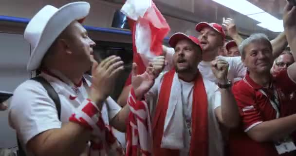 RUSSIA, MOSCOW - June 19, 2018: Football fans of Poland, Senegal, Russia before the match Poland - Senegal at the stadium Spartak in June 2018 in Moscow Russian Federation