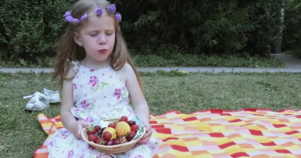 Girl child on a picnic
