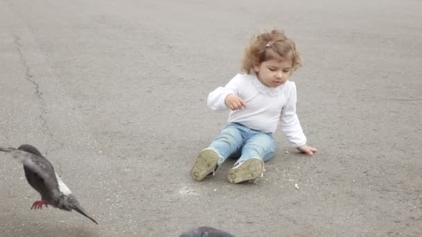 Girl feeds the pigeons