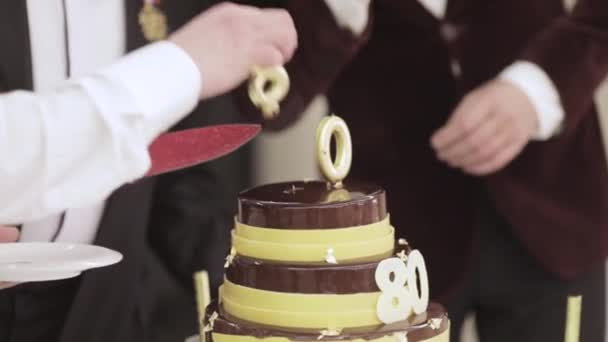 Birthday Cake For 80 Years Stock Footage