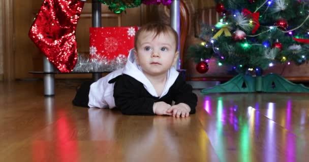 Junge auf dem Weihnachtsbaum