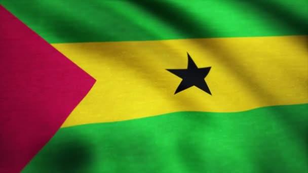 Bandera De Santo Tome Y Principe Con Agitar La Textura De La Tela Fondo De Una Bandera Que Agita De Santo Tome Y Principe