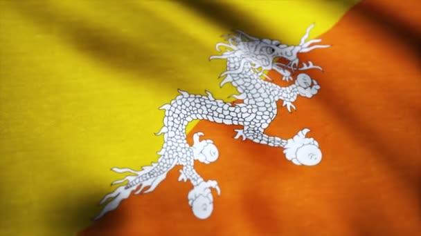 Flag of Bhutan waving in the wind detail. Background waving in the wind flag of Bhutan