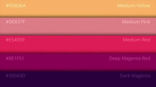 Výběr palety barev. Odstíny barev na paletě. RGB jména barev