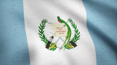 Waving flag of Guatemala, seamless loop. Exact size, blue background. Flag of Guatemala. Rendered using official design and colors. Seamless loop