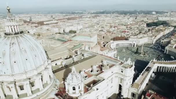 Panoramic aerial view of Rome and Saint Peter s Square, Vatican, Italy. Stock. View from the cupola of Vatican Saint Peters Cathedral