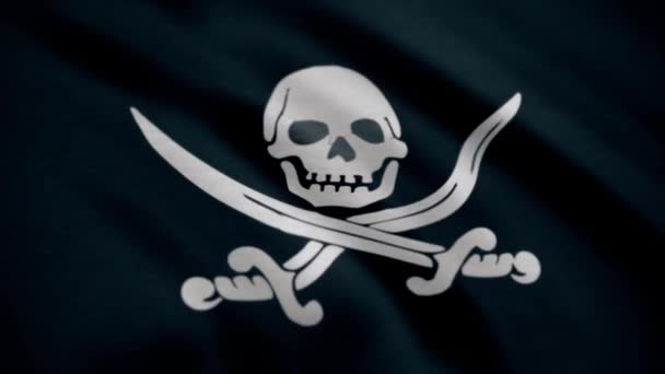 Jolly Roger is traditional English name for flags flown to identify pirate ship about to attack. Animation of the pirate flag with bones waving seamless loop. Skull and crossbones symbol on black flag