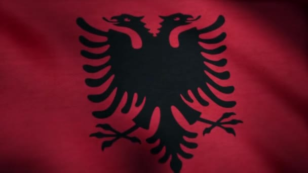 Albania national flag. Realistic flag of Albania waving in the wind