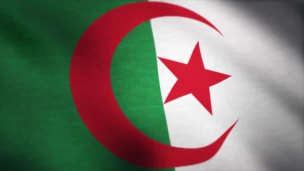 Alžírsko vlajky vlající animace. Vlajka Alžírska mávat ve větru