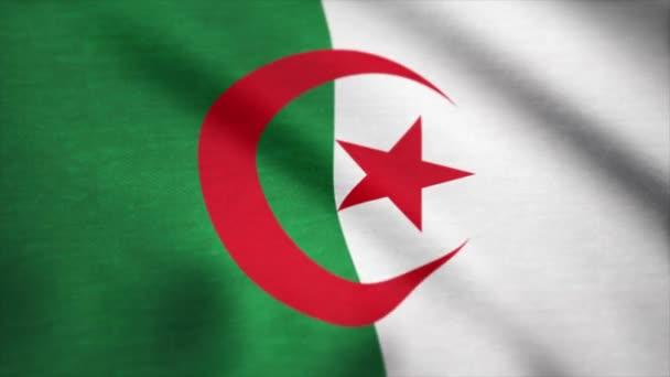 Algeria flag waving animation. Flag of Algeria waving in the wind