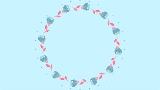 Květiny rámec na bílém pozadí s textem prostoru. Pozadí pro video květiny s rámem