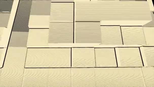 Retro disco styl blok s liniemi a hluk pohybu pozadí žlutá a bílá. 3d abstraktní datové krychle, pohybuje nahoru a dolů animace. Bezešvá smyčka