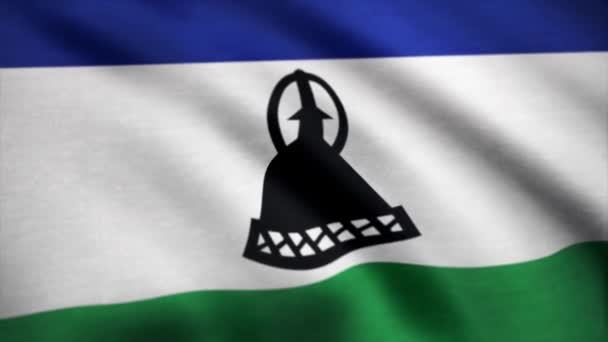 Flag of Lesotho, slow motion waving. Flag of Lesotho. Rendered using official design and colors. Seamless loop. Realistic Lesotho flag. Rendered using official design and colors. Highly detailed