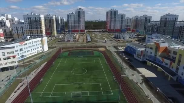Urban development. Footage. Residential area Academic, new buildings. Ekaterinburg, Russia. Shooting from the air by a flying camera