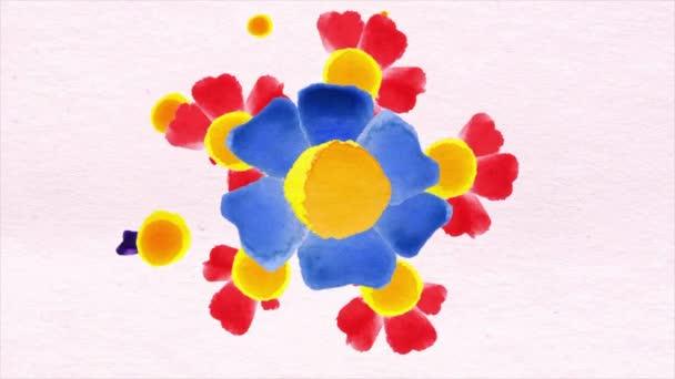 Květinové pozadí animace. Zahradní květiny plovák růžové pozadí jako jasné kontrastní pozadí