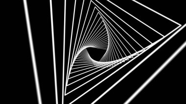 Elegant Glowing Bright Colorful Curved Spiral Lines Spinning Optical illusion animated background, black and white. Seamless loop. Animated Seamless Looping Abstract Motion Background