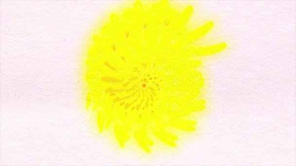 Virág színes Kaleidoszkóp pontok akvarell papír textúra minták. Absztrakt tarka jelet ad grafikus háttér. Animált kártya, kézzel készített tulipánok, csokor virág